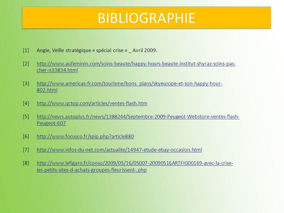BIBLIOGRAPHIE[1] Angie, Veille stratégique « spécial crise » _ Avril 2009.